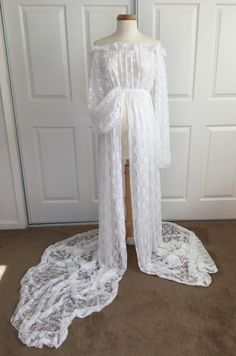 White Lace Maternity Gown with lace fluffy long by BoutiqueByAgnes
