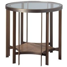 Furniture. circle bronze metal frame bedside table with round ...