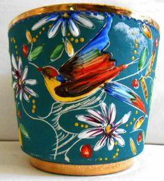 Dumler Breiden Germany Bird Fat Lava planter pot West German Pottery 876-1 vgc | eBay
