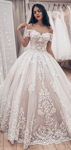 a1d77da8290 Dazzling Tulle Off-the-shoulder Neckline Ball Gown Wedding Dresses With  Lace Appliques