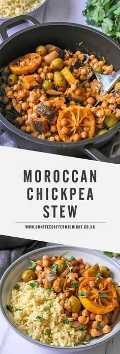 Moroccan chickpea stew with aubergine & olives