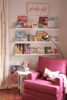 Baby girl's nursery reveal // reading nook // rareandworthy.com // Kim Childs Design