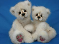 Vintage Mink Bears by Kathy Myers (mother-daughter polar bears)