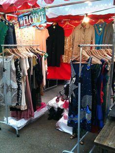 Market stall - vintage and designer dresses in Spitalfields Market
