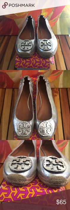 Tory Burch Flat Reva Espadrilles size 8.5 silver Tory Burch Flat Reva Espadrilles size 8.5 silver/wear on edges /two knick marks of the sole/ tiny separation on right shoe front sole Tory Burch Shoes