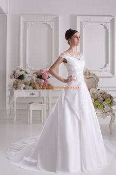 2014 Elegante Luxurise Brautmode aus Satin A-Linie V-Ausschnitt