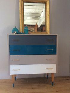 Vintage petite commode repeinte par mes soins# DIY bleu gris beige blanc