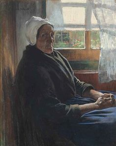Willy Sluiter - An Old Woman of Katwijk, Seated Before a Window; Medium: Coloured pastel