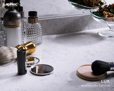 Get ready in style. Lapitec® Lux in Arabescato Canova makes for truly luxurious bathroom surfaces.
