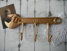 metallic gold wrench hook tool hook coat hook clothing hook wall hook shabby chic decor she-shed decor cottage decor cottage hook by ShabbyRoad on Etsy