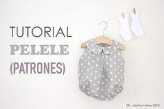 Tutorial y patrones: Pelele de lunares para bebé DIY