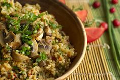 Bulgur Pilaf With Garbanzo Beans & Mushrooms Recipe Garbanzo Bean Recipes, Cooking Garbanzo Beans, Vegetarian Recipes, Cooking Recipes, Cooking Games, How To Cook Zucchini, How To Cook Asparagus, How To Cook Quinoa, Cooking Wild Rice
