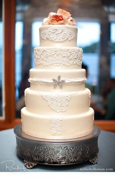 Love this cake especially the initials on the top layer