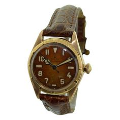 Vintage Rolex bubble back 18 karat rose gold wrist watch, circa This Swiss size wrist watch has a Thunderbird bezel with perpetual movement and. Antique Watches, Vintage Watches, Watch Companies, Oyster Perpetual, Vintage Rolex, Rolex Watches, Wrist Watches, Automatic Watch, Bubbles