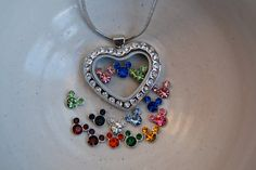 Glass locket necklace with Disney's Mickey by PearBlossomStudios, $32.00