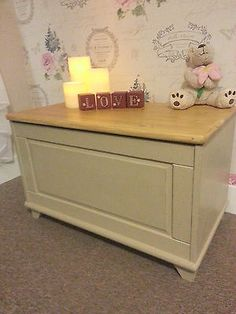Shabby chic storage ottoman bench settle laundry toy box chest hall seat trunk in Trunks & Chests | eBay. Another wonderful item from Chic Boutique Furniture in Leicester.