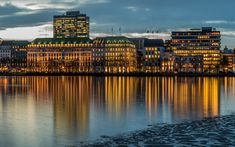 Download wallpapers Hamburg, 4k, evening city, river, Germany, Europe