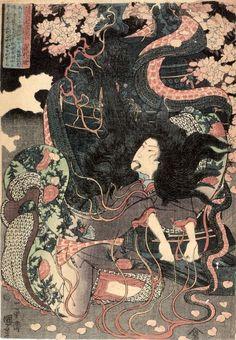 Horrorklassiker aus der Edo-Zeit – Religion-in-Japan Japanese Tattoo Art, Japanese Painting, Japanese Graphic Design, Japanese Prints, Oriental, Japanese Mythology, Traditional Japanese Art, Kuniyoshi, Art Japonais