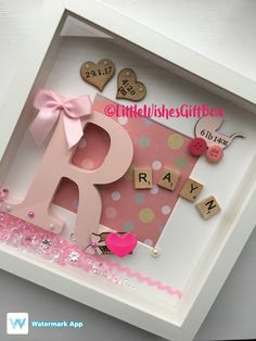 New Baby Girl box frame New Baby Nursery decor freestanding or wall hung personalised. Christening / Naming Ceremony / Birth gift - Choosing A Baby Name - ideas of Choosing A Baby Name - Baby Girl birth / child initial box frame New Baby Nursery Baby Nursery Decor, Girl Nursery, Girl Box, Cuadros Diy, Coloring For Boys, Scrabble Frame, Scrabble Tiles, Family Tree Frame, Birth Gift
