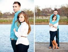 Beautiful couple poses by blue water on a dock holding on to one another. True Love! www.thephotolove.com