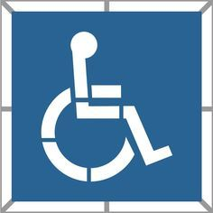 Handicap Two Part parking lot stencil measures 36 in. high by 36 in. wide and comes on 2-pieces of plastic. Stencil is designed to lay flat on pavement and can be used to mark hundreds of parking spaces. The two part stencil allows the background color to be painted first and then the Handicap symbol to be painted on top of the background color. Usually the background color is blue and the Handicap symbol is painted in white or sometimes yellow. The background box is essentially a square stencil Arrow Stencil, Painting Contractors, How To Make Signs, Facility Management, Plastic Sheets, Blue Square, Letters And Numbers, Clean Up, Parking Lot