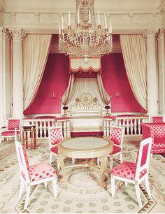 Versailles Princess Room. Marie Antoinette. Fuchsia Pink White Gold. Rococo.