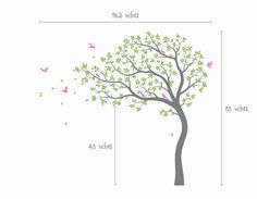 Large whimsical summer tree wall decal with blowing leaves and birds. Get custom colors for free! If you want to see how this wall decal will look like on your wall, please contact us now to get free custom preview plus a free consultation with one of our designers. Wall decals are