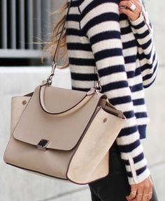 Luxury Street chic. Stripes + Celine bag.
