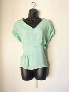 NEW LINE AND DOT SEAFOAM BLUE TOP  WOMENS CLOTHING  100 SILK SIZE MEDIUM NWT #LineDot #Blouse #EveningOccasion