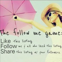 FOLLOW GAME!!! Follow game! Want more followers?? Let's grow together 1. Follow me  2. Like this post. 3. Follow everyone who has liked this post 4. Share and tag your friends! Free People Other