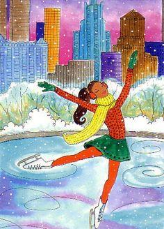 Women's Cholena Native American Collectible Porcelain Doll Black Christmas, Christmas Images, Christmas Art, Vintage Christmas, Ice Skate Drawing, Porcelain Dolls Value, Winter Illustration, Christmas Drawing, Ice Skating