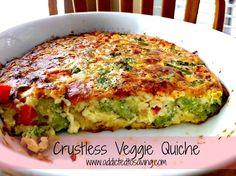Crustless Veggie Quiche Recipe (Gluten Free) www.addictedtosaving.com