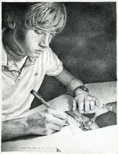 Student Colin Williams created this mind-blowing illustration as a project for his high school drawing class during sophomore year. There are no details online unfortunately as we wondered just how how long this piece took or how many dots it required to complete. - http://www.creativebloq.com/graphic-design/pointillism-examples-dot-art-11121135