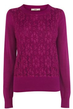 Put a pretty twist on keeping warm this winter in our adorable lace front jumpers. The piece features a crew neckline and long sleeve styling. The piece is finished with a plain knitted reverse. Fashion Today, I Love Fashion, Fashion Online, Womens Fashion, Keep Warm, Stay Warm, Work Wardrobe, Pink Sweater, Pink Lace