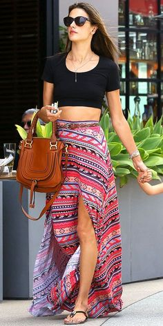 Fashionista Fly: Black Crop Top With Printed Maxi