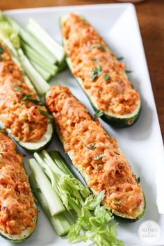Buffalo Chicken Zucchini Boats via Inspired by Charm #wings #gameday