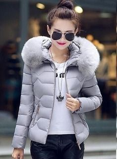 Charlee Cooper Padded Coat Jacket Large Fur Collar With Hood