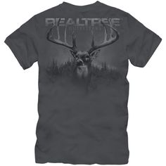 Realtree Outfitters Deer Print Shirt ($17) ❤ liked on Polyvore featuring tops, shirts, realtree, shirts & tops, charcoal shirt, two tone shirts and realtree shirt