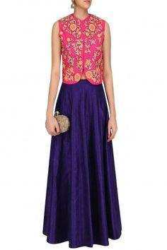 Aharin India Pink Gota Patti Embroidered Jacket with Blue Lehenga Skirt #happyshopping #shopnow #ppus