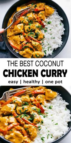 This coconut curry chicken can be create in one-pot and is packaged with full of flavors! This curry can be reached in half an hour or less making it the ideal weeknight-dinner. for dinner for two main dishes Plats Healthy, Comida India, Health Dinner, Indian Food Recipes, Easy Indian Chicken Recipes, African Recipes, Breakfast Recipes, Cooking Recipes, Health Food Recipes