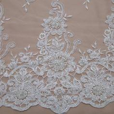 Tecido renda bordada branco - Maximus Tecidos | Loja Online