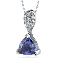 Sleek Shimmer 1.50 carats Trillion Cut Sterling Silver Rhodium Finish Alexandrite Pendant - Fashion Jewelry