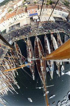 At the America's Cup; a yacht sailing competition Classic Sailing, Classic Yachts, Yacht Boat, Yacht Club, Sail Away, Set Sail, Saint Tropez, Birds Eye View, Wooden Boats