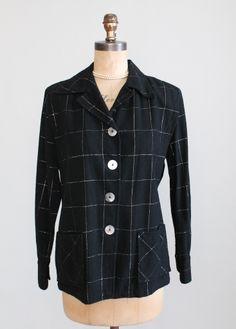 Vintage Rare 1940s Vagabond Black Sparkle 49er Jacket. Perfect for the holidays!