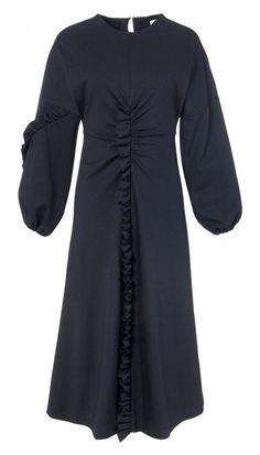 Bond Stretch Knit Ruffle Long Dress