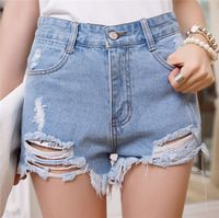 Nueva Irregular agujero Punk Rock Street Vintage Ripped Jeans Denim Retro mediados de cintura mujeres Shorts mujer ocasional más tamaño pone en cortocircuito 30833
