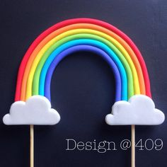 Gum paste Rainbow Cake Topper