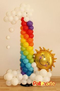 Rainbow Balloon Column Number One. Perfect for your little one's first birthday.