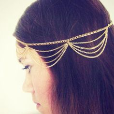 Smile Hair Accessories Multi-layered Chain Tassels Headbands Hair * Details can be found by clicking on the image.