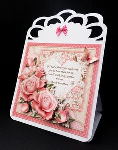 THANK YOU MUM Verse Pink Roses 8x8 Decoupage Mini Kit on Craftsuprint designed by Janet Briggs - made by Bernie Mclaughlin